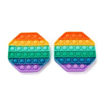 Silicone Push Pop Bubble Fidget Sensory Toy, Bubble Popper Fidget Toy, Stress Anxiety Relief Toys, Hexagon, Colorful, 120~125x15mm(DIY-J004-E05)