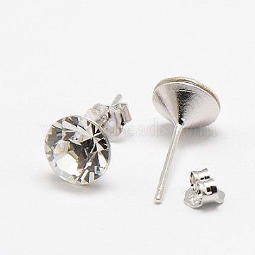Valentine Gifts for Her Romantic Austrian Crystal Stud Earrings, with 925 Sterling Silver Earring Posts, 001_Crystal, 16x7mm, Pin: 0.8mm(SWARJ-D467-001)