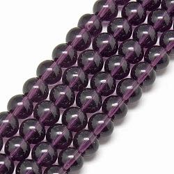 """Chapelets de perles en verre, rond, pourpre, 6mm, trou: 1mm; environ 50 pcs/chapelet, 13""""(X-GR6mm06Y)"""