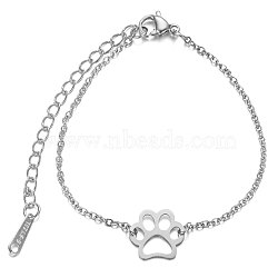 201 Stainless Steel Link Bracelets, with Cable Chains and Lobster Claw Clasps, Dog Paw Prints, Stainless Steel Color, 6 inches~6-3/4 inches(15~17cm); 1.5mm(STAS-T040-JN020-1)