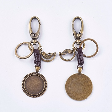 Alloy Keychain Findings, Cabochon Settings, Cadmium Free & Lead Free, Flat Round and Fish, Antique Bronze, Tray: 25mm; 110mm(KEYC-K011-39AB)