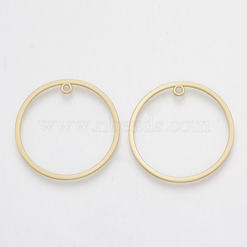 Smooth Surface Alloy Open Back Bezel Pendants, For DIY UV Resin, Epoxy Resin, Pressed Flower Jewelry, Ring, Matte Gold Color, 30x1.5mm, Hole: 1.5mm(X-PALLOY-S117-129)
