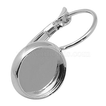Brass Leverback Earring Findings, Lead Free & Cadmium Free & Nickel Free, Flat Round, Platinum, Tray: 10mm; 24X12mm(X-KK-C1243-P-NR)
