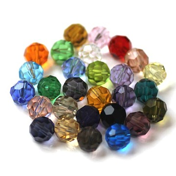 Imitation Austrian Crystal Beads, Grade AAA, Faceted, Round, Mixed Color, 8mm, Hole: 0.9~1mm(SWAR-F021-8mm-M)