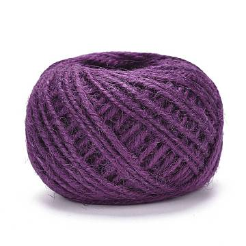 Jute Cord, Jute String, Jute Twine, for Jewelry Making, Purple, 1~2mm, about 27.34 yards(25m)/roll(OCOR-WH0052-22D)