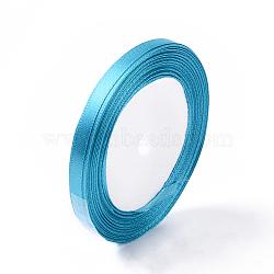 """1/4"""" (6 мм) синяя атласная лента, 25yards / рулон (22.86 м / рулон)(X-RC6mmY047)"""