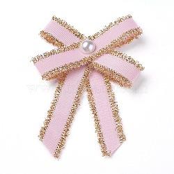 Broche en polyester, avec des perles de verre et du fer, bowknot, rose, 95~100x67~72mm(JEWB-I011-01E)