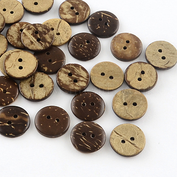 2-Hole Flat Round Coconut Buttons, Coconut Brown, 15x3mm, Hole: 2mm(X-BUTT-R035-004)
