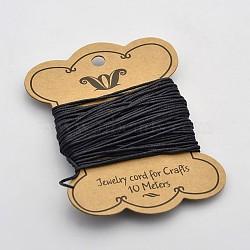 Black Waxed Cotton Cord, Bead Cord For Bracelets, 1.2mm(X-YC-1.2mm-332)
