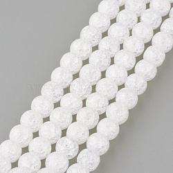 Синтетический хрустят кварц бисер пряди, круглые, окрашенные, снег, 10 мм, Отверстие : 1 мм; около 40 шт / нитка, 15.7''(GLAA-S134-10mm-05)