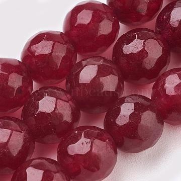 malaisie naturelles perles de jade brins, teints, facettes, arrondir, DarkRed, 12 mm, trou: 1.2 mm; environ 32 perle / brin, 14.9(X-G-K288-12mm-05)