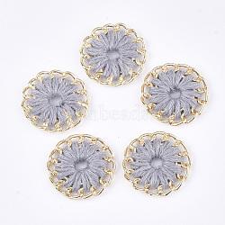тканые подвески из ниток, сплава с выводами, плоские круглые, золотой, светло-серый, 27~27.5x3~4 mm, отверстия: 3~5 mm(FIND-S306-11D)