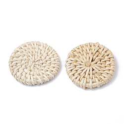 Handmade Reed Cane/Rattan Woven Beads, For Making Straw Earrings and Necklaces, No Hole/Undrilled, Bleach, Flat Round, AntiqueWhite, 37~42x5~7mm(X-WOVE-Q075-20)