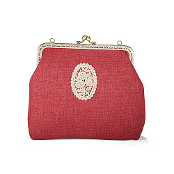 SHEGRACE Cotton and Linen Women Evening Bag, with Embroidered Lace Rose Flowers, Alloy Flower Purse Frame Handle, Alloy Twisted Curb Chain, Crimson, 230x240x60mm(JBG007A-01)