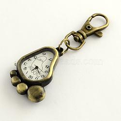 Accessoires de porte-clés rétro montre à pied en alliage pour porte-clés, avec mousquetons de fer, Retour avec des mots aléatoires, blanc, 85 mm; pied: 43x28x8 mm, boitier montre: 27x20 mm(WACH-R009-077AB)