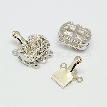 Brass Multi-Strand Box Clasps, Nickel Free, Rectangle, Platinum, 16~19x14x6mm, Hole: 2mm(X-KK-F0237-P-NF)
