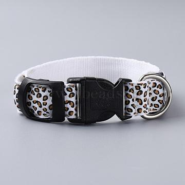 Adjustable Polyester LED Dog Collar, with Water Resistant Flashing Light and Plastic Buckle, without Battery, Leopard Print Pattern, White, 355~535mm(MP-H001-A07)