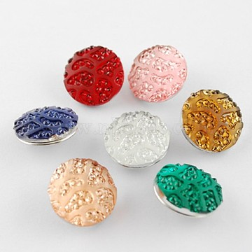 Flat Round Brass Glitter Powder Resin Jewelry Snap Buttons, Platinum, 19x8mm, knob: 5mm(X-RESI-S080-M)