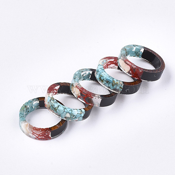 Epoxy Resin & Ebony Wood Rings, with Dried Grass, Shell and Synthetic Turquoise, Pale Turquoise, 19mm(RJEW-S043-07D-01)