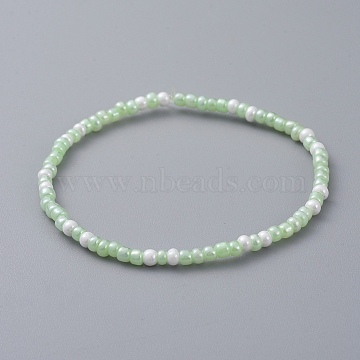 "Glass Seed Beaded Kids Stretch Bracelets, LimeGreen, 2""(5cm)(BJEW-JB04824-01)"