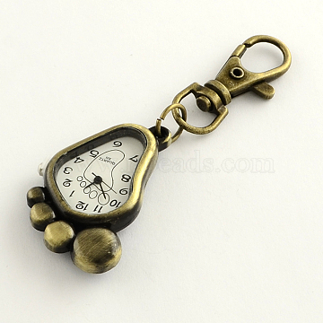 Retro Keyring Accessories Alloy Foot Watch for Keychain, with Iron Lobster Clasps, Back with Random Words, White, 85mm, foot: 43x28x8mm, watch face: 27x20mm(WACH-R009-077AB)