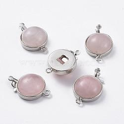 Naturel a augmenté fermoirs boîte de quartz, avec les accessoires en laiton de tonalité de platine, plat rond, 27~28x18x7~9.5mm, Trou: 1~2mm(G-L473-C10)