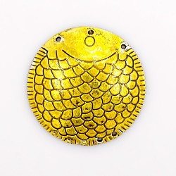 Liens en alliage d'émail de ton argent antique, Composants de lustre, plat rond, or, 43x2mm, Trou: 1.5mm(ENAM-J330-01AS)