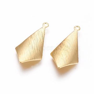 Rack Plating Brass Pendants, Long-Lasting Plated, Rhombus, Golden, 25x12x0.5mm, Hole: 1.4mm(X-KK-F804-10G)