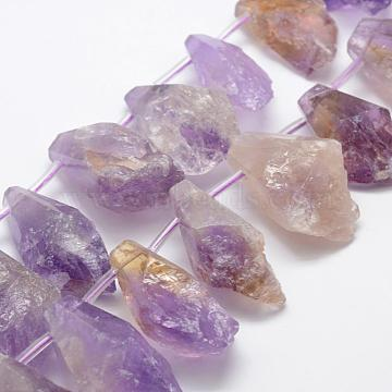 Natural Ametrine Beads Strands, Nuggets, Faceted, 26~40x18~30mm, Hole: 1mm; about 14pcs/strand, 14.9inches(G-K209-22)