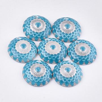 Handmade Porcelain Pendants, Flat Round, DeepSkyBlue, 43x11.5~12.5mm, Hole: 5~6mm(PORC-T002-49A)
