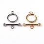 304 из нержавеющей стали кольцо тумблеры застежками, cmешанный цвет, Кольцо: 21x16x2 mm, бар: 25x8x4 mm, отверстия: 3 mm