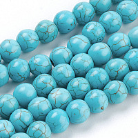 Synthetic Turquoise Beads Strands, Round, Turquoise, 8mm, Hole: 1mm, about about 50pcs/strand