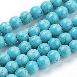 pierres précieuses perles, turquoise synthétique, arrondir, bleu ciel, 8 mm, trou: 1 mm; environ sur 50 pcs / brin