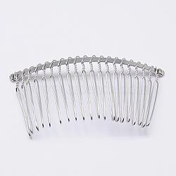 Accessoires de peigne de cheveux en fer, 20 dents, pour création de les cheveux décoratif bijoux peignes, platine, 38x77mm(PHAR-Q002-2)
