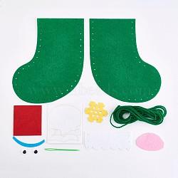 Bas de noël créatifs en tissu non tissé, emballage de matériel de bricolage, décoration de noël à la main, sac cadeau accessoires de couture, verte, 47~175x5~138mm(DIY-WH0059-02)