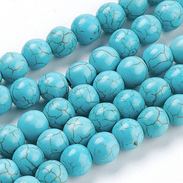 Gemstone Beads, Synthetical Turquoise, Round, Sky Blue, 8mm, Hole: 1mm; about about 50pcs/strand(X-TURQ-S192-8mm-2)
