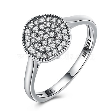 925 Sterling Silver Rings, with Micro Pave Cubic Zirconia, Size 8, Antique Silver, 18.1mm(RJEW-BB32026-8)