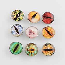 Boutons de bijoux en laiton, avec cabochons de verre, plat rond avec des yeux, couleur mixte, 18x9.5mm(X-BUTT-R028-M)