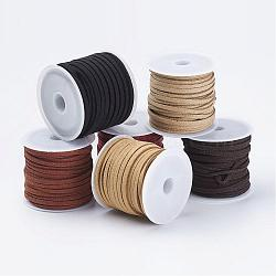 Faux Suede Cord, Faux Suede Lace Sets, Mixed Color, 3x1.5mm; about 5m/roll, 6roll/bag(LW-JP0002-01)
