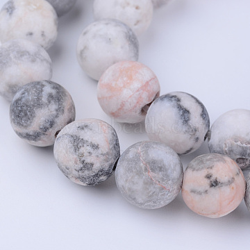 Natural Zebra Jasper Beads Strands, Frosted, Round, 10~10.5mm, Hole: 1.2mm, about 36pcs/strand, 15.5 inches(X-G-Q462-10mm-03)