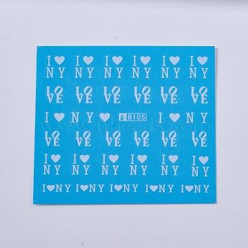 Nail Art Stickers, Mixed Style, Deep Sky Blue, 61x53mm(AJEW-TA0003-V06-B)