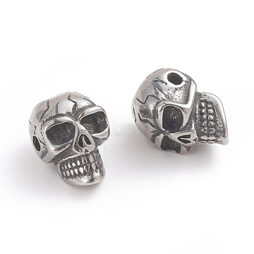 Halloween 316 Surgical Stainless Steel Beads, Skull Head, Antique Silver, 13.8x9.5x9mm, Hole: 1.8mm(X-STAS-F237-02AS)
