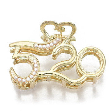 Alloy Claw Hair Clips, with ABS Plastic Imitation Pearl, Long-Lasting Plated, Number 520 with Heart, Light Gold, White, 32x49x29mm(PHAR-N004-008)