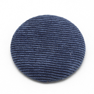 Corduroy Cloth Fabric Covered Cabochons, with Aluminum Bottom, Half Round/Dome, PrussianBlue, 25x5.5mm(X-WOVE-S084-25A)