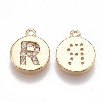 Real Gold Plated Clear Flat Round Brass+Cubic Zirconia Charms