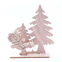 décorations pour la maison en bois non teint, arbre de noël avec garçon, burlywood, 136.5x42.5x149 mm; 3 PCs / ensemble(DJEW-F006-01)