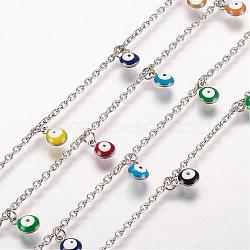 """Bracelets de cheville en 304 acier inoxydable avec pendentif, avec des charmes émaillés, mauvais œil, platine, couleur mixte, 10-3/8"""" (263 mm); 2mm(AJEW-E032-03)"""