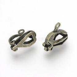 Bagues d'oreilles unies en fer, bronze antique, 12x6x10mm, Trou: 1.5mm(X-KK-R071-06AB)