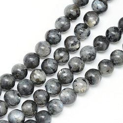 Natural Labradorite Bead Strands, Round, 8~9mm, Hole: 1mm; about 46pcs/strand, 15.3inches(X-G-R345-8mm-33)