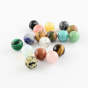 Natural & Synthetic Gemstone Stone Beads, Gemstone Sphere, for Wire Wrapped Pendants Making, Round, No Hole/Undrilled, Mixed Color, 10mm(X-G-S117-10mm-M)